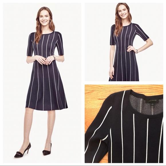 39d1d47ade9 Ann Taylor Dresses   Skirts - Ann Taylor Pinstripe Flare Sweater Dress