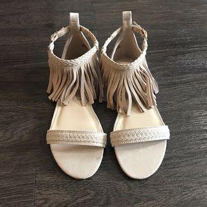 NWOT Beige Ankle Fringe Sandals