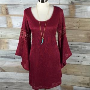 Eye-Catching Bell Sleeved Poshmark Burgundy Dress