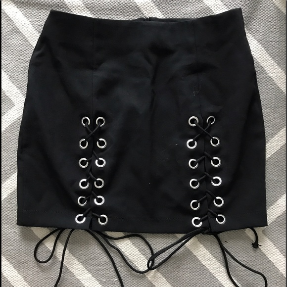 Skirts - Black lace up skirt