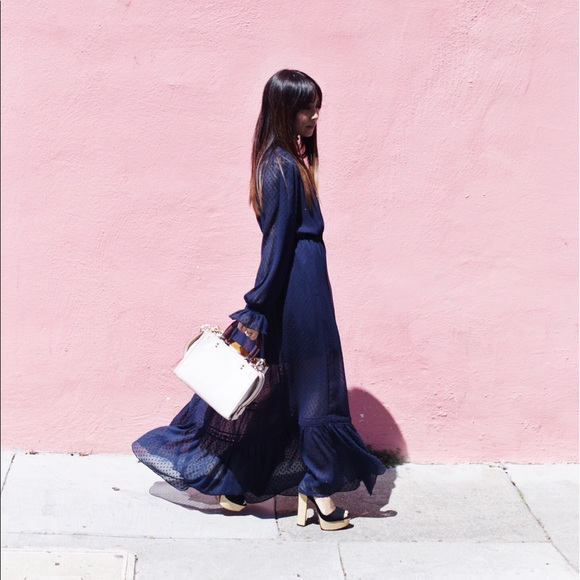 Zara Dresses - Zara Navy Blue Maxi Dress