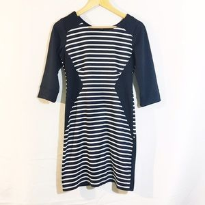 ZARA MNG navy blue stripe 3/4 sleeve dress
