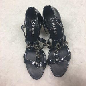 CHANEL Shoes - Chanel block heel chain sandals