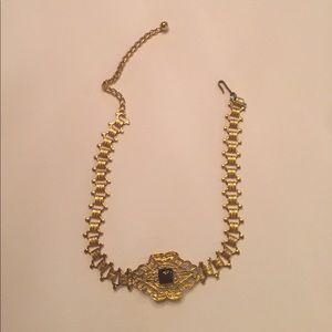 Jewelry - Tin gold like choker necklace w/blk stone