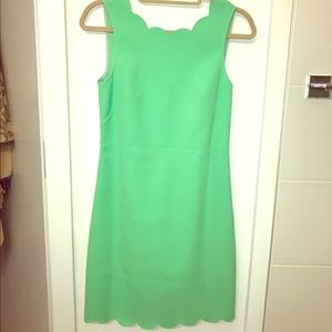 J Crew Factory scallop trim green dress size 0
