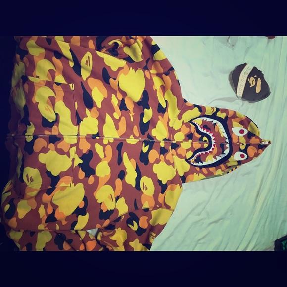 3a2c66d123 bathing ape Jackets & Coats | Bape 1st Camo Shark Hoodie Orange ...