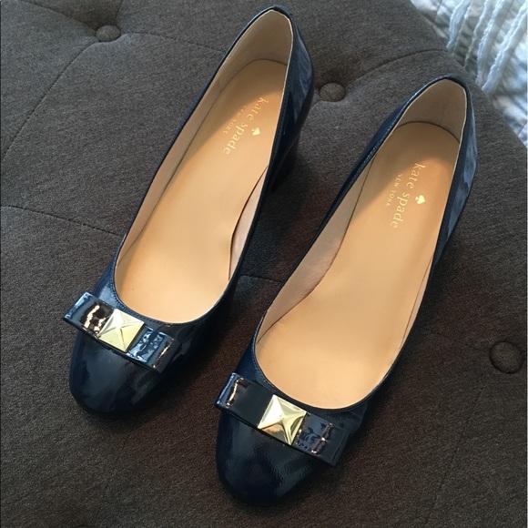 13754aaf39c kate spade Shoes - Kate Spade blue patent bow block heel pump