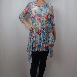 NEW STRETCHY SEMI SHEER FLORAL Shark Bite Tunic