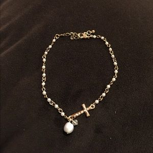 Jewelry - Gold Tone and Pearl Cross Ankle Bracelet