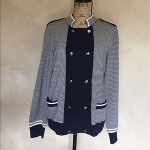 St. John double breasted striped cardigan sweater