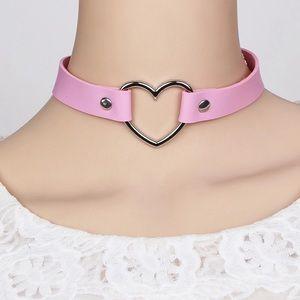 Jewelry - Pink Heart PU Leather Choker