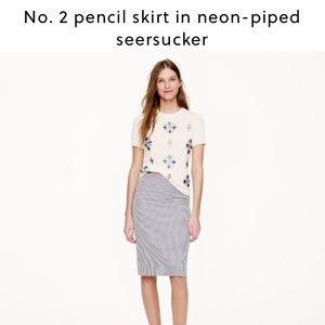 J Crew Neon tipped seersucker pencil skirt Sz 00