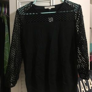 Ann Taylor Loft Black Sweater with lace sleeves
