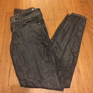 G by guess gray metallic skinny jeans