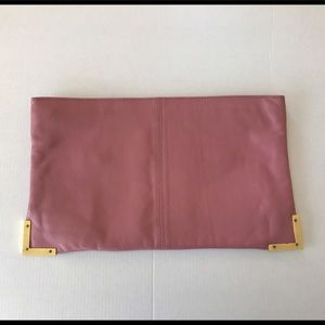 Pink leather ASOS clutch