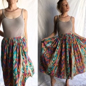 Amazing Vintage Colorful Tribal Print Cotton Skirt