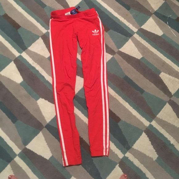16c905d5cbb adidas Pants | Womens Red 3 Stripes Leggings Xs | Poshmark