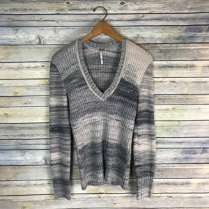 Free People Striped Linen Blend Fitted Sweater