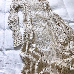 LAST CHANCE New Boho Beige Crochet Cardigan XSmall