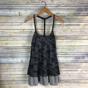 Free People Studded Grey Top Black Lace Overlay