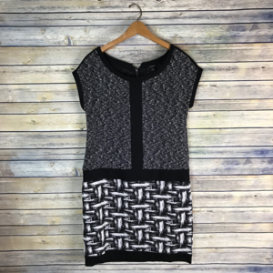 Ann Taylor Black White Marled Shift Career Dress