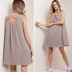 🛍JUST IN🛍  Taupe Tie Front Loose Summer Dress