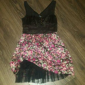 Black and Floral dress with tutu underliner