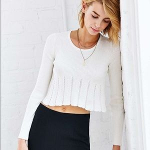 URBAN OUTFITTERS kimchi blue white sweater crop