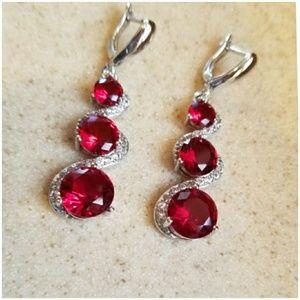 """Genuine 7ct Ruby Earrings 2"""""""