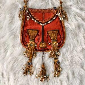 Handmade Goat Leather Bag with Shell Fringe