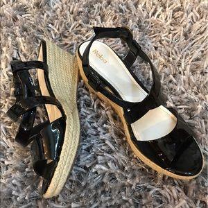 Reba Black Shiny Wedge Sandals Women's 6.5 EUC