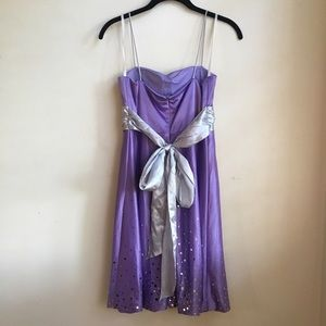 Purple and Silver Satin Dresses