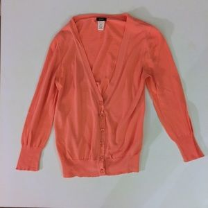 J. Crew Orange Cardigan with Glass Buttons - XS