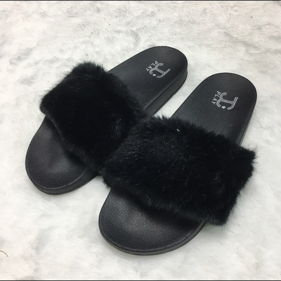 42da844244c5 Jeffrey Campbell follow me black faux fur slides