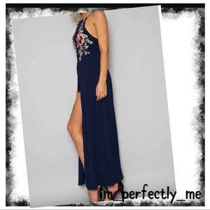 Dresses & Skirts - BLUE FLORAL EMBROIDERED MAXI