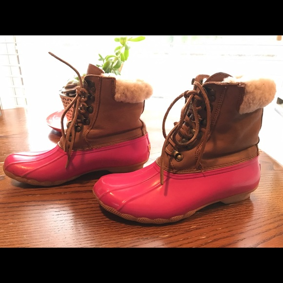 Hot Pink Sperry Duck Boots By J Crew