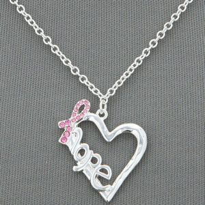 Crystal Pink Ribbon Necklace