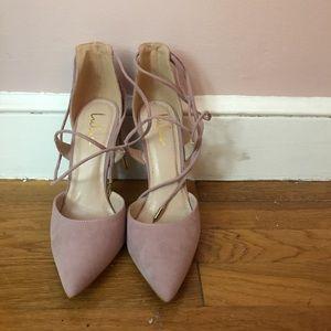 Tie around pink suede heels