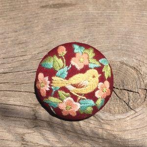 Vintage embroidered brooch