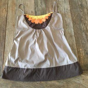BCBGMAXAZRIA Brown Orange Yellow Tank Shirt Sz XXS
