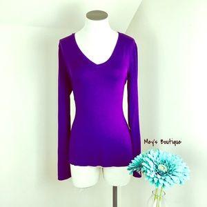 ⭐️Anne Klein Purple Long Sleeve V-Neck Size S⭐️