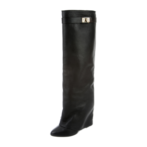 GIVENCHY SHARK LOCK FOLD-OVER BOOTS Black