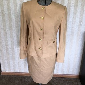 Tan linen blend suit.