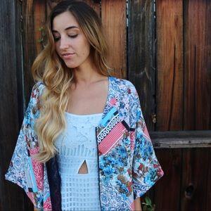 Tops - patterned kimono top