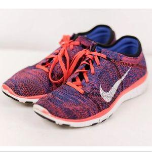 Nike Free 5.0 TR Flyknit Training Shoe Orange Blue