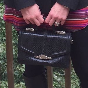 GORGEOUS woven black leather and  silver Handbag