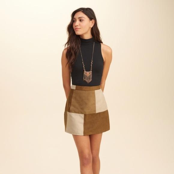 c504c63c2 Hollister Dresses & Skirts - Hollister Patchwork A-Line Suede Skirt