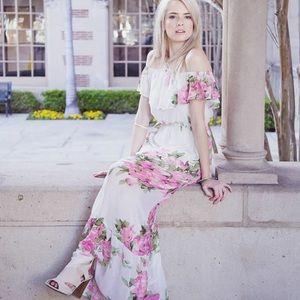 Ivory Pink Floral Halter Maxi Dress