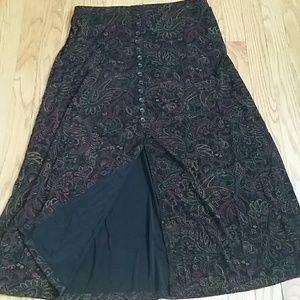 Vintage Stretchy Cute Maxi Skirt W/Slit! *PL*