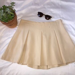 Pleated Tan School Girl Skirt